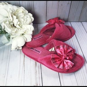 Betsey Johnson Pink Bow Slippers